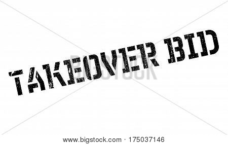 Takeover Bid rubber stamp. Grunge design with dust scratches. Effects can be easily removed for a clean, crisp look. Color is easily changed.