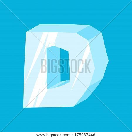 Letter D Ice Font. Icicles Alphabet. Freeze Lettering. Iceberg Abc Sign