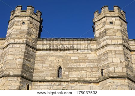 A close-up shot of the turrets of Exchequer Gate in Lincoln UK.