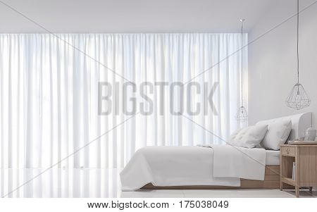 Modern white bedroom minimal style 3D rendering Image.There are decorations room with white translucent curtain and white bed