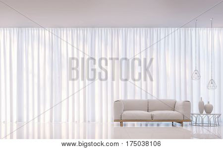 Modern white bedroom minimal style 3D rendering Image. There are decorate room with white translucent curtain and white furniture