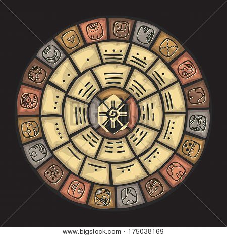 Mayan stone calendar on a dark background