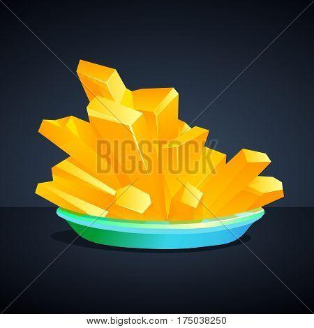 Yellow crystals Potassium hexacyanoferrate on a dark background