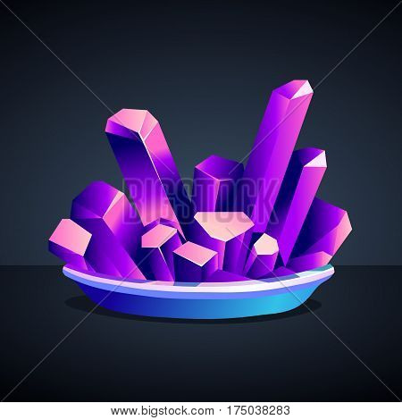 Purple crystals of chromium-potassium alum on a dark background