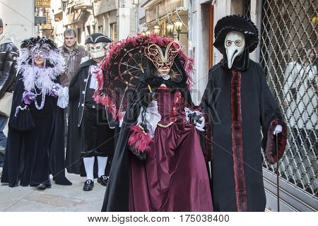 ITALY VENICE - FEBRUARY 14: Colorful carnival masks at the most famous European Carnival on February 14 2010 in Venice.