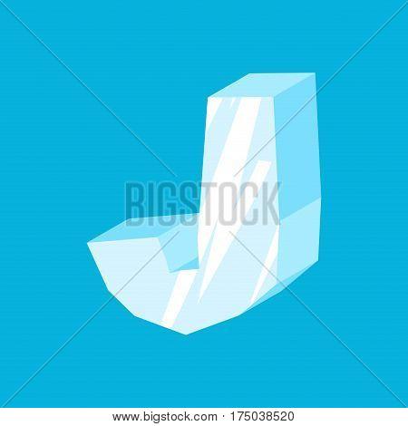 Letter J Ice Font. Icicles Alphabet. Freeze Lettering. Iceberg Abc Sign