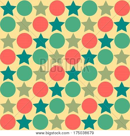 Retro seamless abstract pattern - star alternating circle in muted vintage colors of red blue green and tan