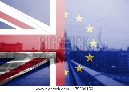 The European Union and the British Union flag combined over icons of London, England, UK. Stay or leave. Brexit