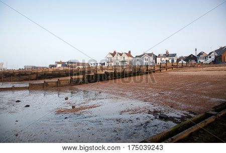 the sea bed at low tide in Whitstable, Kent, UK