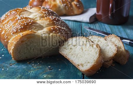 Challah Bread With Sesame Seeds