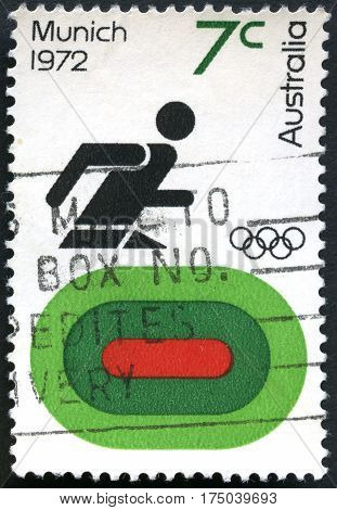 AUSTRALIA - CIRCA 1972: A used postage stamp from Australia commemorating the Munich Olympic Games circa 1972.