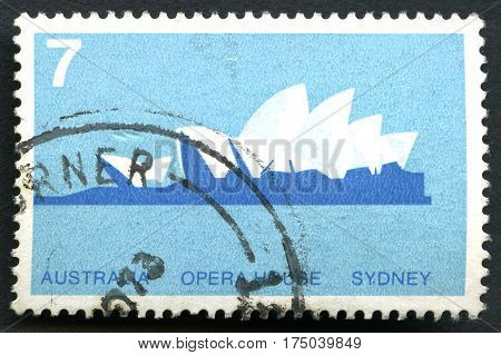 AUSTRALIA - CIRCA 1973: A used postage stamp from Australia depicting an illustration of the Sydney Opera House in Australia circa 1973.