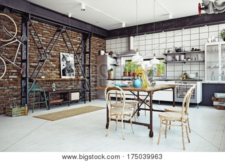 modern loft kitchen interior. 3d rendering concept