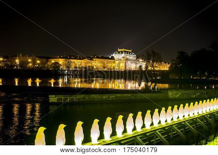 Czech Republic Prague Charles Bridge Castle Cathedral and more at twilight capitol city night