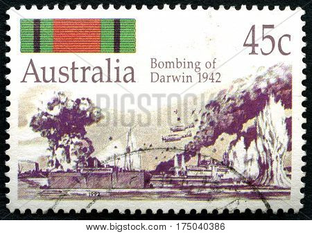 AUSTRALIA - CIRCA 1992: A used postage stamp from Australia commemorating the Bombing of Darwin by Japanese forces during the Second World War in 1942 circa 1992.