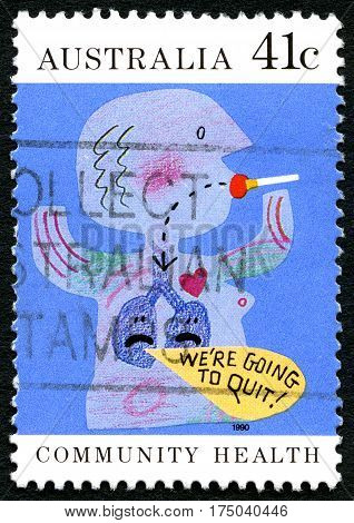 AUSTRALIA - CIRCA 1990: A used postage stamp from Australia promoting a message to Quit Smoking circa 1990.