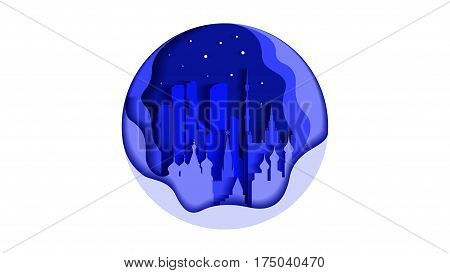 Stock vector illustration background cir le icon flat style architecture buildings and monuments town city country travel printed materials, Russia Moscow, Russian culture, landscape, Kremlin, capital