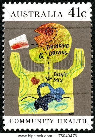 AUSTRALIA - CIRCA 1990: A used postage stamp from Australia telling the reader that Drinking and Driving Dont Mix circa 1990.