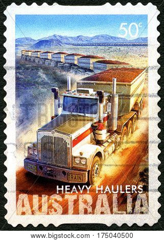 AUSTRALIA - CIRCA 2008: A used postage stamp from Australia celebrating Heavy Haulers and the Haulage Industry circa 2008.