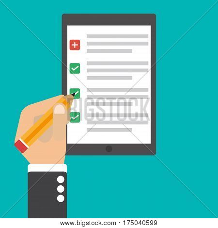 Hand signs a contract in the tablet pc