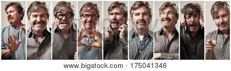 Mature caucasian man face expression set collage