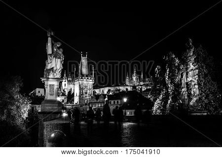 Czech Republic Prague Charles Bridge Castle Cathedral and more at twilight capitol city night black and white