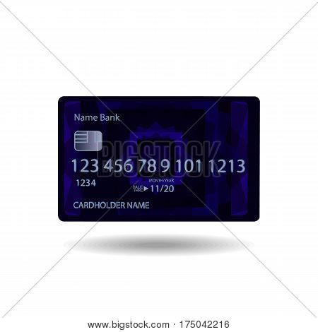 Credit Card Blue Realistic With Abstract Geometric