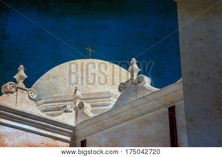 The dome of the Spanish Mission San Xavier del Bac Spanish near Tucson AZ.