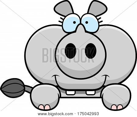 Cartoon Rhinoceros Peeking