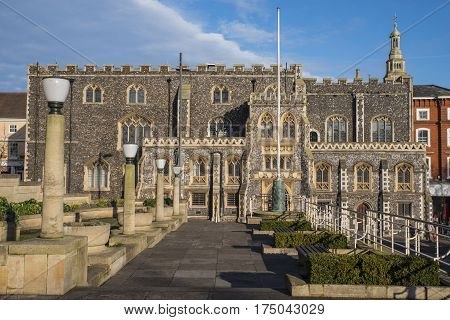 A view of the impressive facade of Norwich Guildhall located on Gaol Hill in the historic city of Norwich UK.