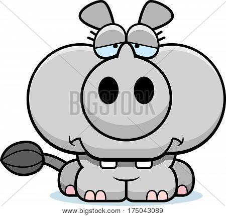 Cartoon Sad Rhinoceros