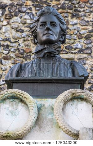 A monument dedicated to historic British nurse Edith Cavell in Norwich UK.
