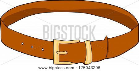 A brown leather belt. Buttoned. A buckle.