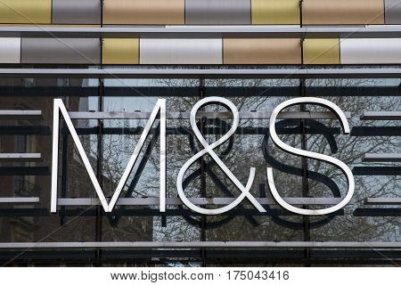 NORWICH UK - JANUARY 17TH 2017: The M&S logo above the entrance to the Marks and Spencer store in Norwich city centre on 17th January 2017.