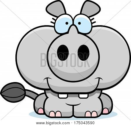 Cartoon Rhinoceros Smiling
