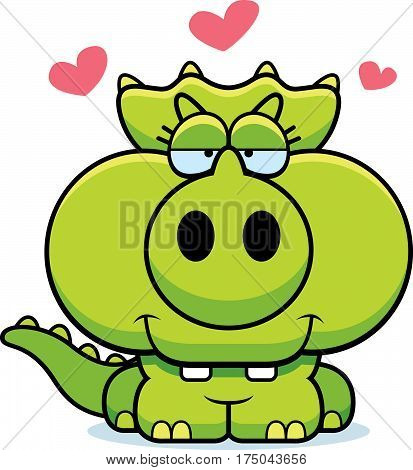 Cartoon Triceratops Love