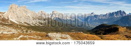 Panoramic view of dolomiti around Cortina d Ampezzo and Dolomites mountains Italy