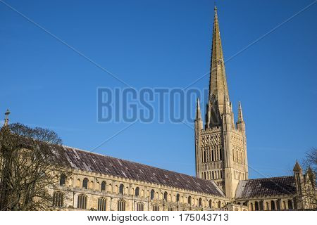 A view of the magnificent Norwich Cathedral in the historic city of Norwich UK.