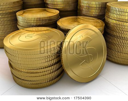 A Large Stack Of Gold Coins
