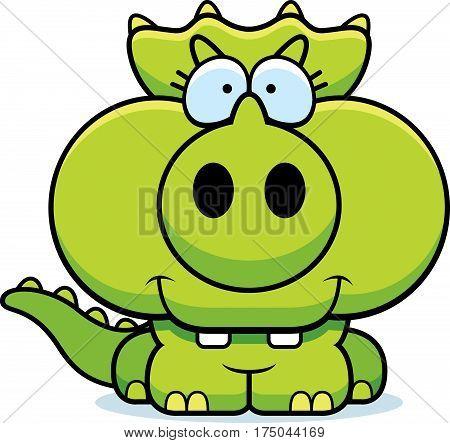 Cartoon Triceratops Smiling