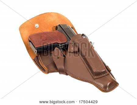 Handgun in holster isolated on the white background poster