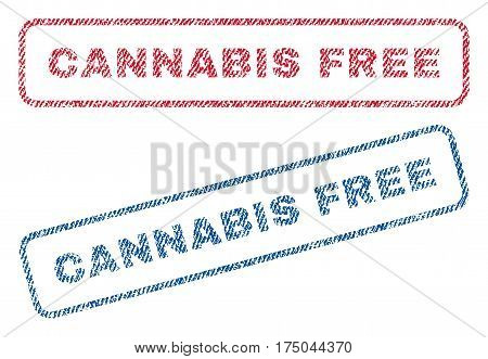 Cannabis Free text textile seal stamp watermarks. Blue red fabric vectorized texture. Vector caption inside rounded rectangular shape. Rubber emblem with fiber textile structure.