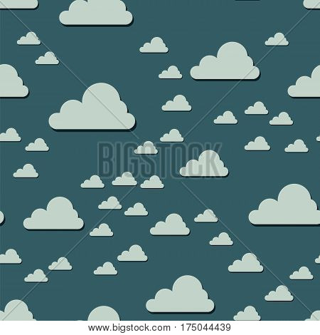 Clouds seamless pattern. Vector illustration. Abstract cartoon cloudscape decorative background. Cloud repetition endless scrapbook template.