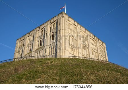 Looking up at the exterior of Norwich Castle in the historic city of Norwich UK.