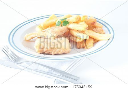 Fried codfish with fried potatoes from italy