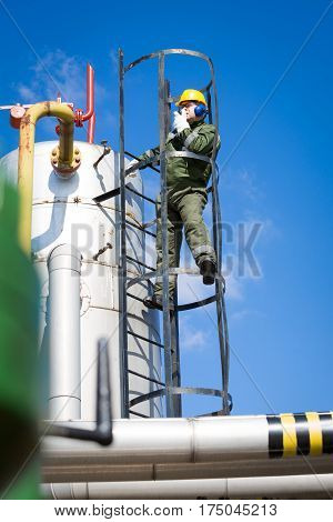 Oil and Gas Industry Worker on the oil plant