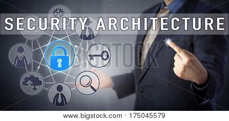 Male corporate officer in blue business suit is lecturing on SECURITY ARCHITECTURE. Computer and network security concept and information technology metaphor for the design of security controls.