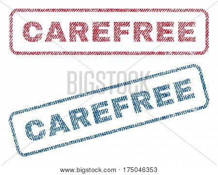 Carefree text textile seal stamp watermarks. Blue red fabric vectorized texture. Vector tag inside rounded rectangular shape. Rubber emblem with fiber textile structure.