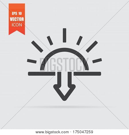 Sunset Icon In Flat Style Isolated On Grey Background.