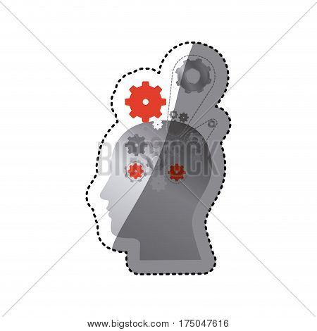 gray contour human with gear icon, vector illustraction design